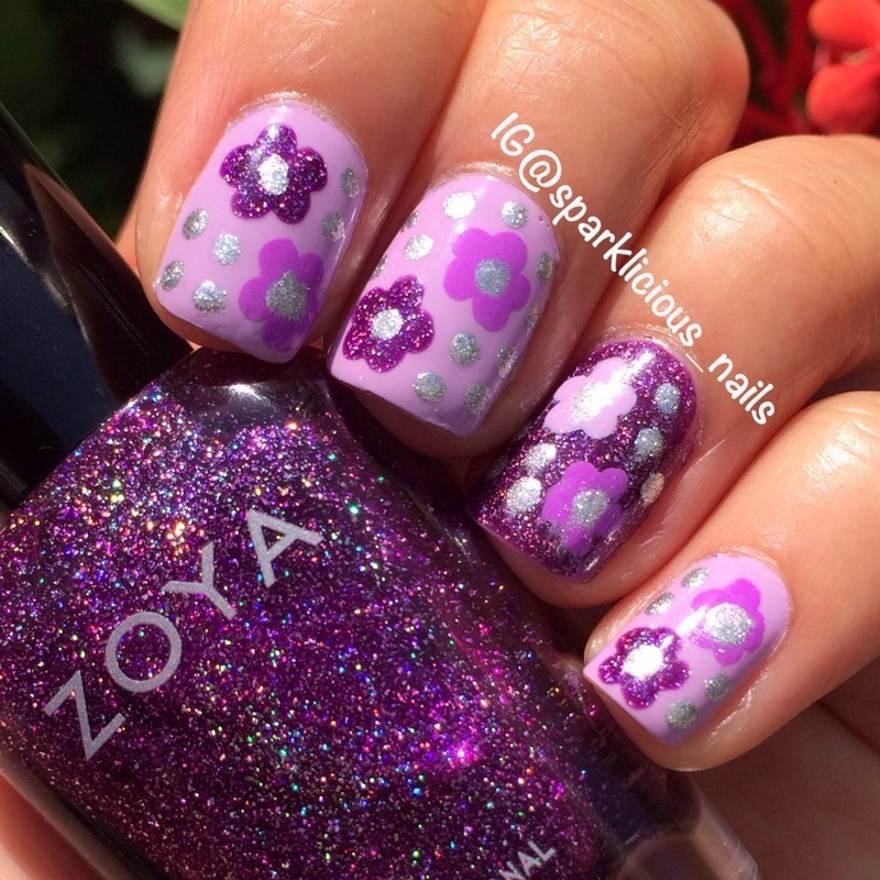 "Purple Florals nail art by Amanda ""Sparklicious Nails"""