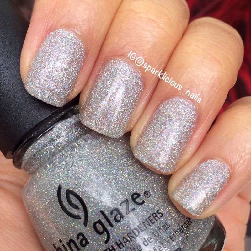 "China Glaze Glistening Snow Swatch by Amanda ""Sparklicious Nails"""