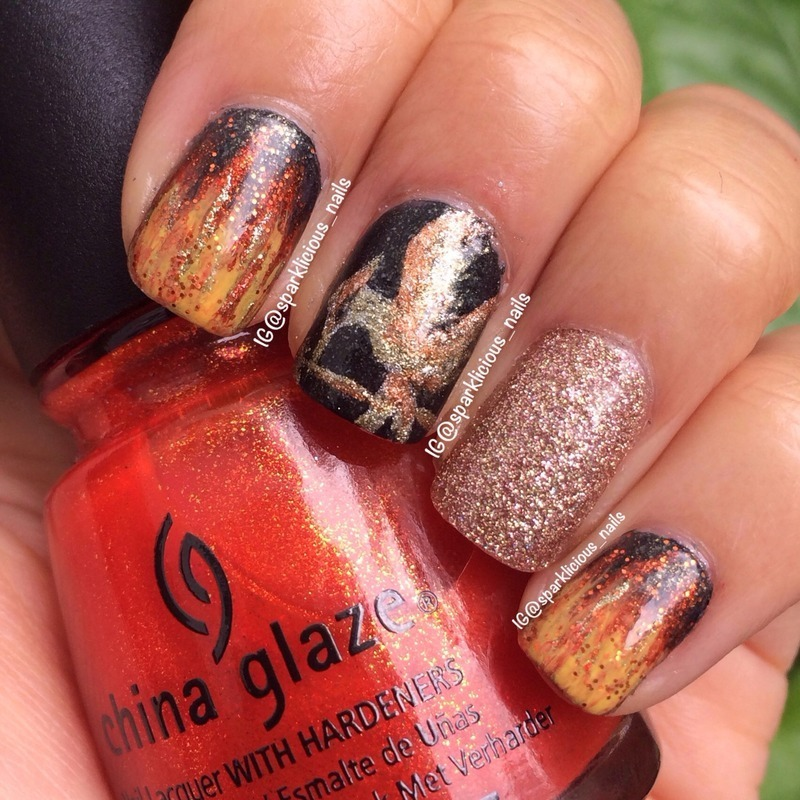 "The Hunger Games: Catching Fire nail art by Amanda ""Sparklicious Nails"""