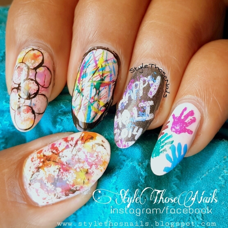 Holi Nails - Colorful Nail art nail art by Anita Style Those Nails