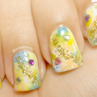Splash of Spring Watercolor Nail Art nail art by madjennsy Nail Art