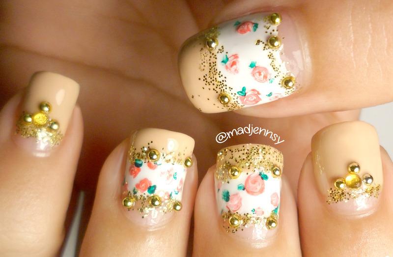 Vintage Roses Nude Nail Art nail art by madjennsy Nail Art