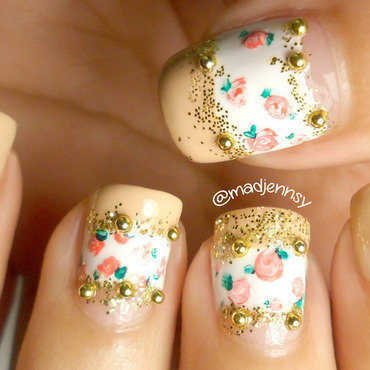 Tiny vintage roses blocking nude nails thumb370f