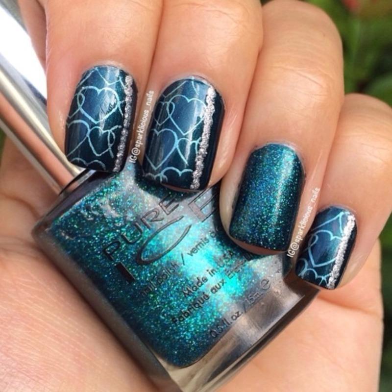 """Cool Hearts nail art by Amanda """"Sparklicious Nails"""""""