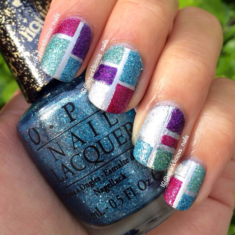 "Textured Colour Block nail art by Amanda ""Sparklicious Nails"""