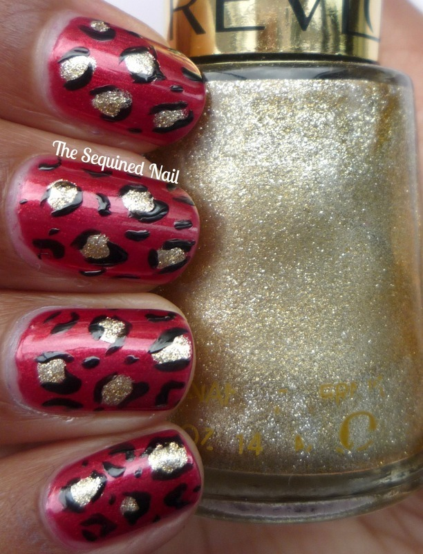 Red Leopard Print nail art by TheSequinedNail
