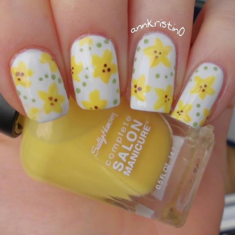 Sunflowers nail art by Ann-Kristin