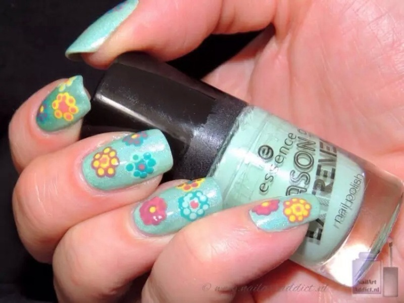 Spring flowers nail art by Viv