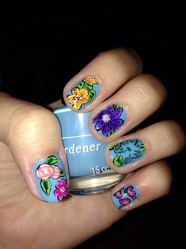 Field of flowers nail art by Ingrid mendizabal