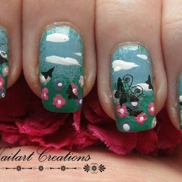Fields of Flowers nail art by Nailart Creations