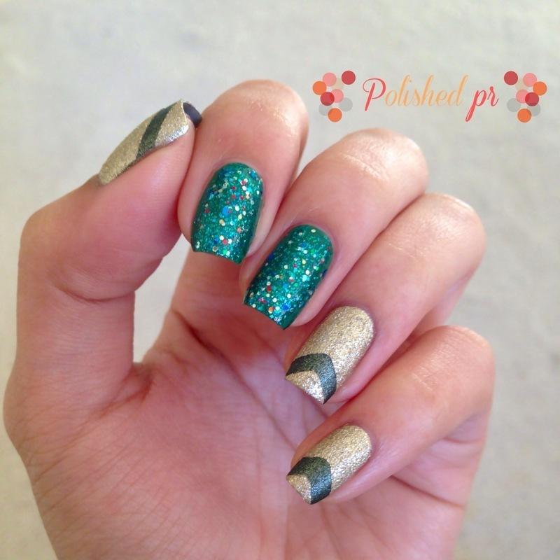 St. Patrick's Green & Gold nail art by Jenn Thai