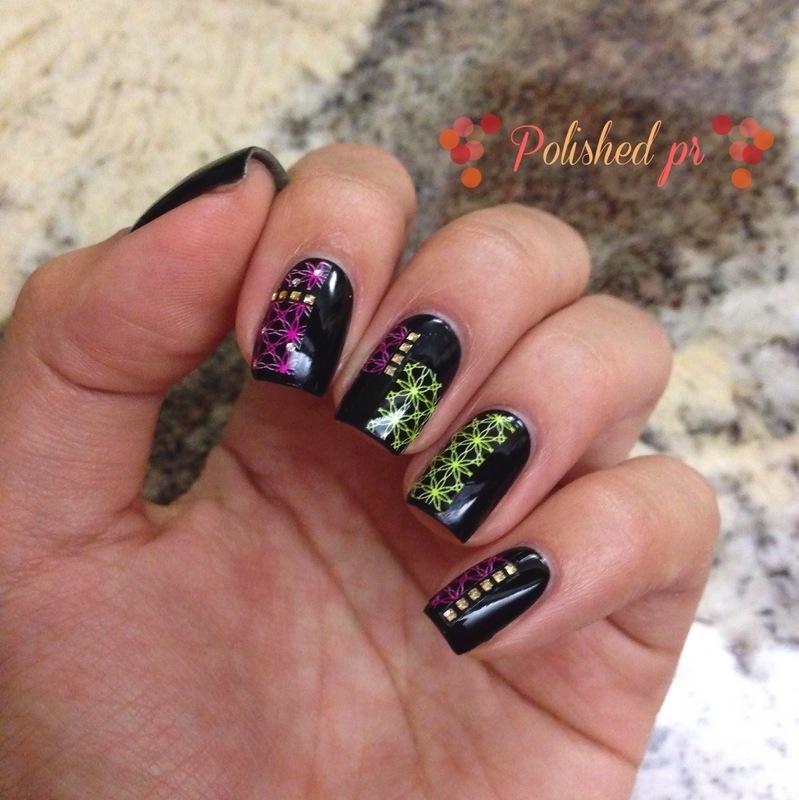 Neon-Embellished Black nail art by Jenn Thai