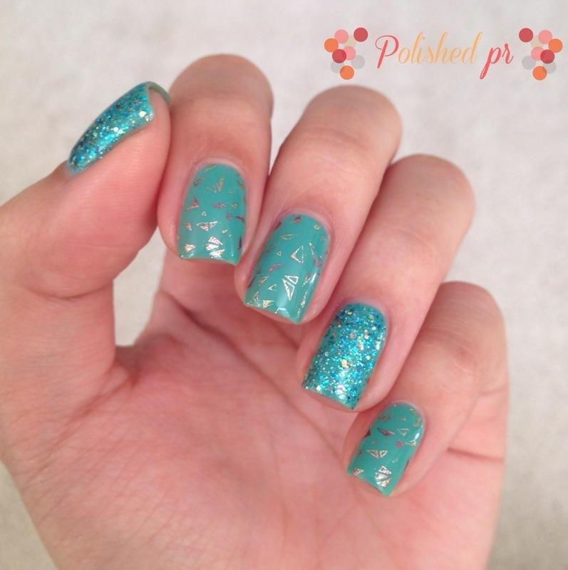 Triangles & Glitter nail art by Jenn Thai