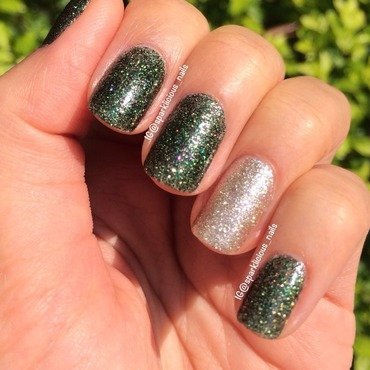"Essie Beyond Cozy and China Glaze Winter Holly Swatch by Amanda ""Sparklicious Nails"""