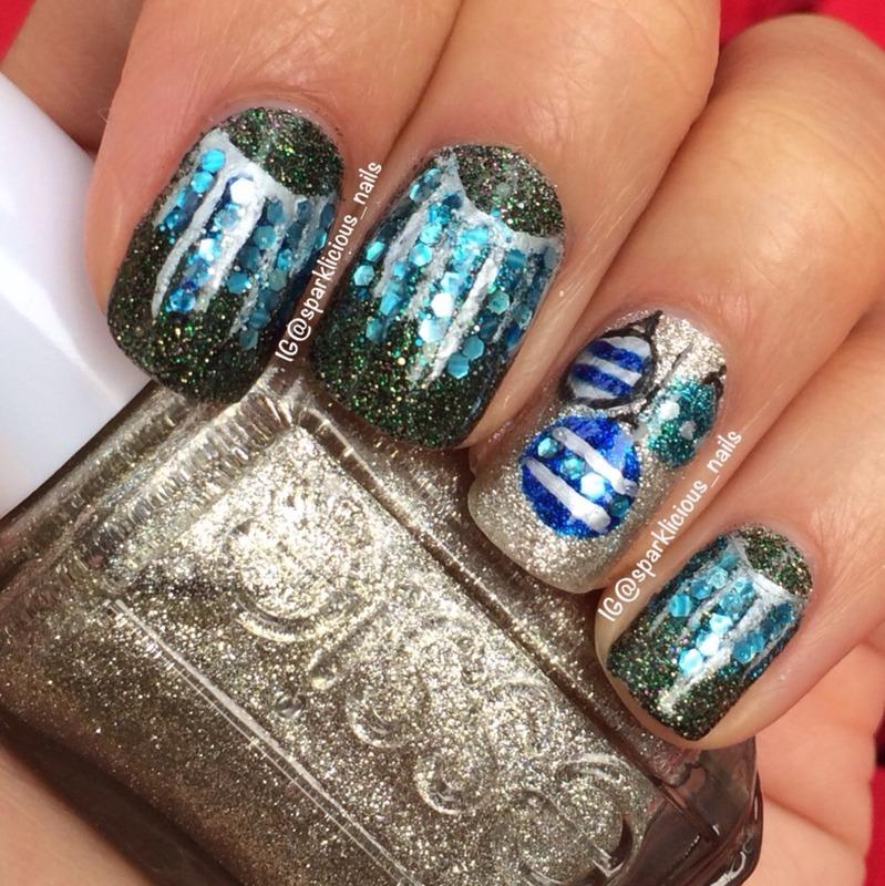 """Christmas Ornaments nail art by Amanda """"Sparklicious Nails"""""""