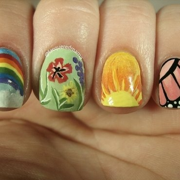 Springtime Skittlette nail art by Jennifer Collins