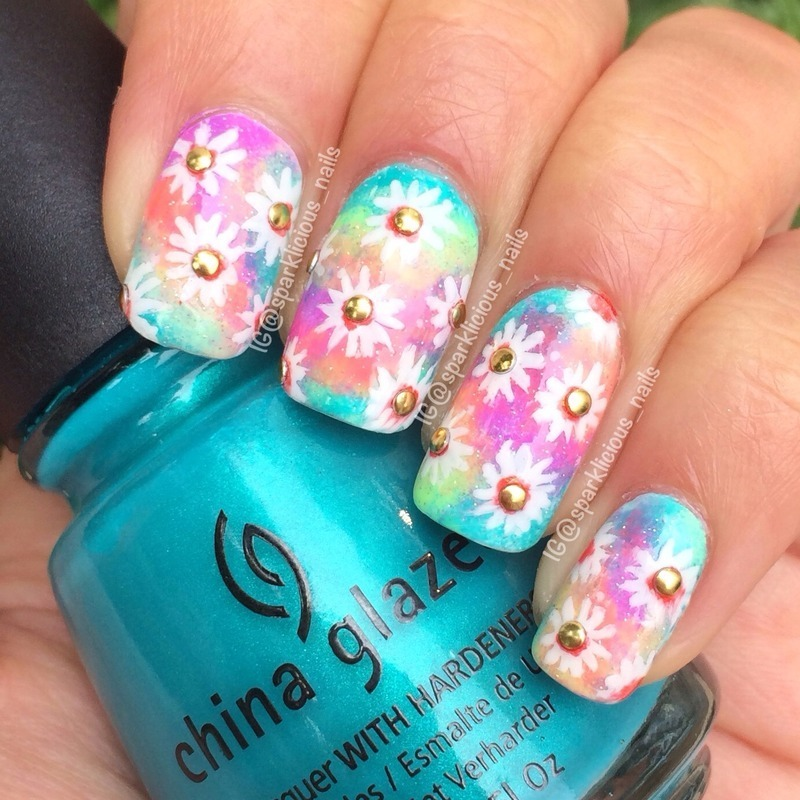 "Out-of-This-World Neon Daisies nail art by Amanda ""Sparklicious Nails"""