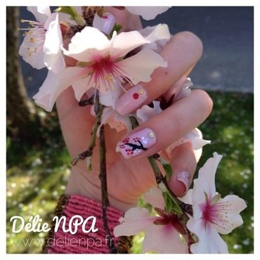Cherry blossom girl nail art by Dju Nails