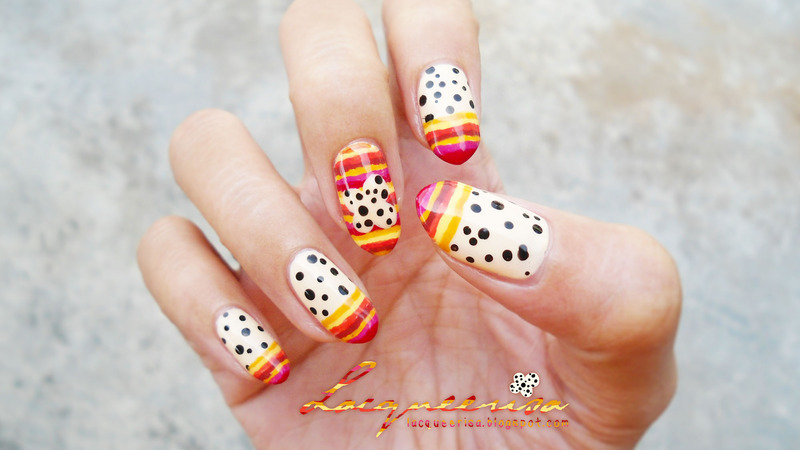 Bright Stripes, Little Spots nail art by Lacqueerisa