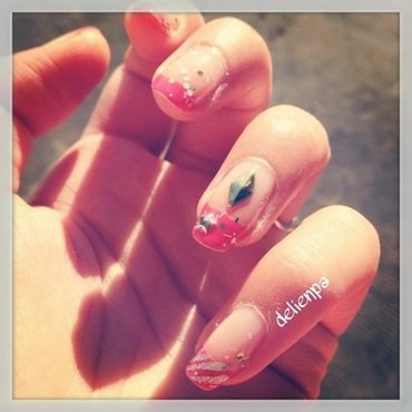Pink & glitters day ! nail art by Dju Nails