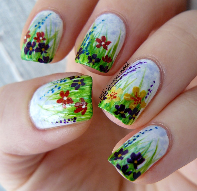 Spring flowers meadow nail art by Ewlyn