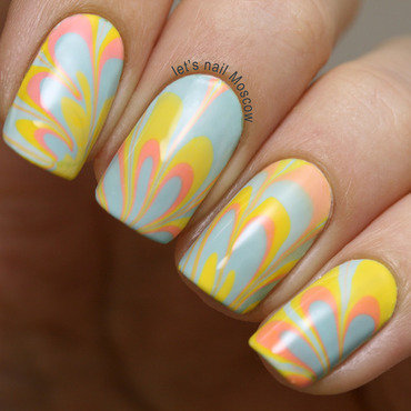 summer water marble nail art  nail art by Let's Nail Moscow