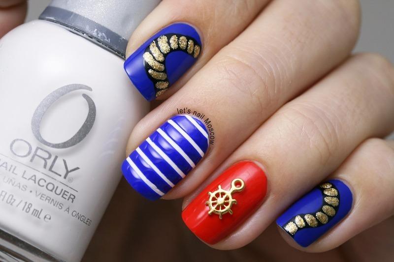 sea marine boat nail art :) nail art by Let's Nail Moscow