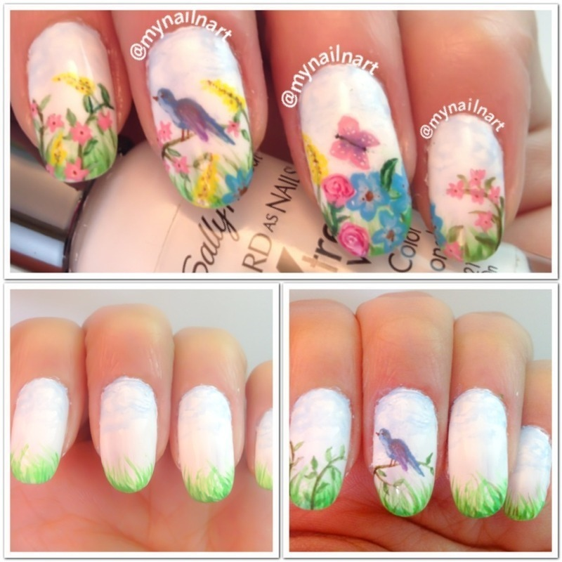 spring nail art by mynailnart