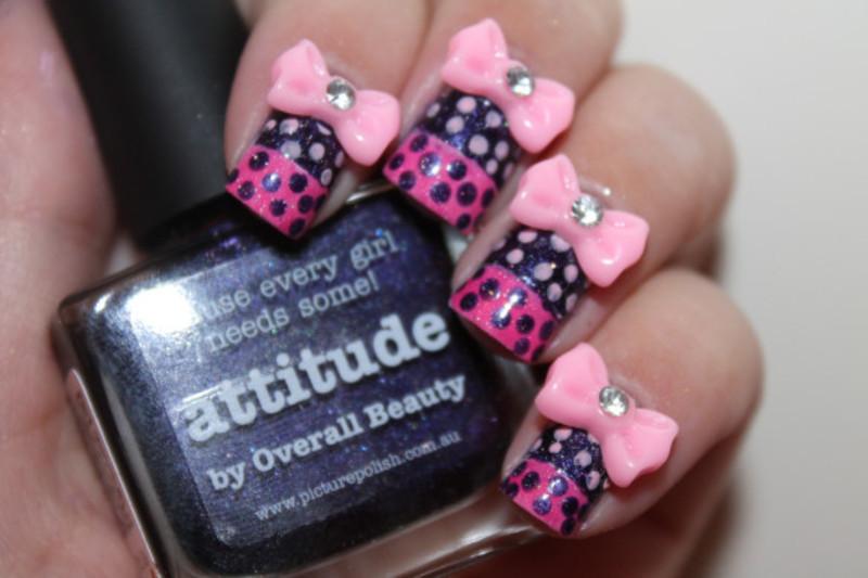 Cute polkadot bowtie glitter art nail art by Itssodamnoriginal