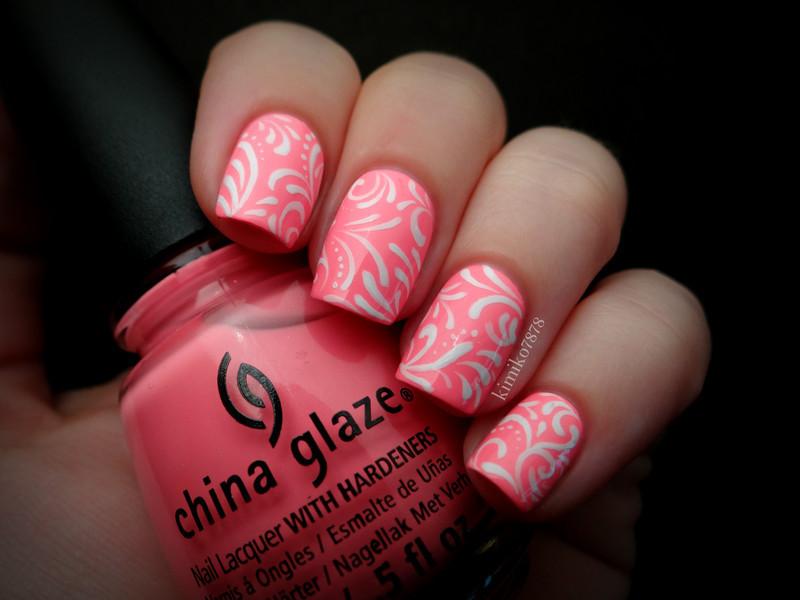 Neon Filigree nail art by Kim
