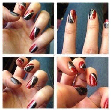 Kiko Digital nail lacquer – en rouge et noir… nail art by Dju Nails