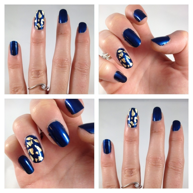Relativ Bleu nuit et feuilles d'or nail art by Dju Nails - Nailpolis  CL58