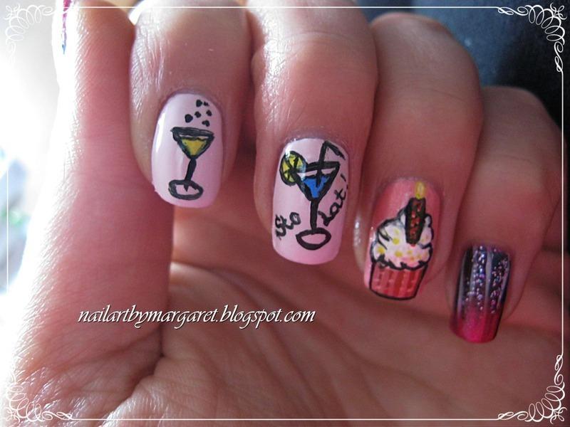 Urodzinowe nail art by Margaret Nail Art