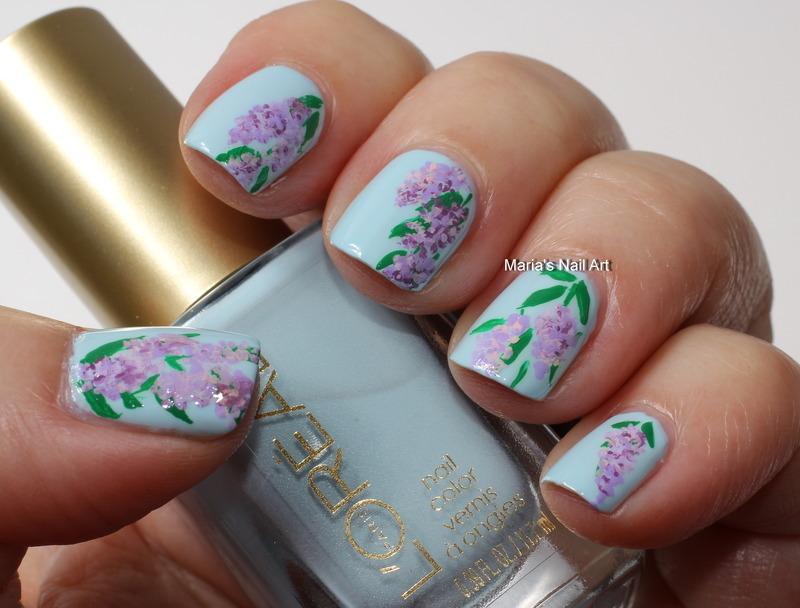 """Lilacs nail art by Maria """"Maria's Nail Art and Polish Blog"""""""