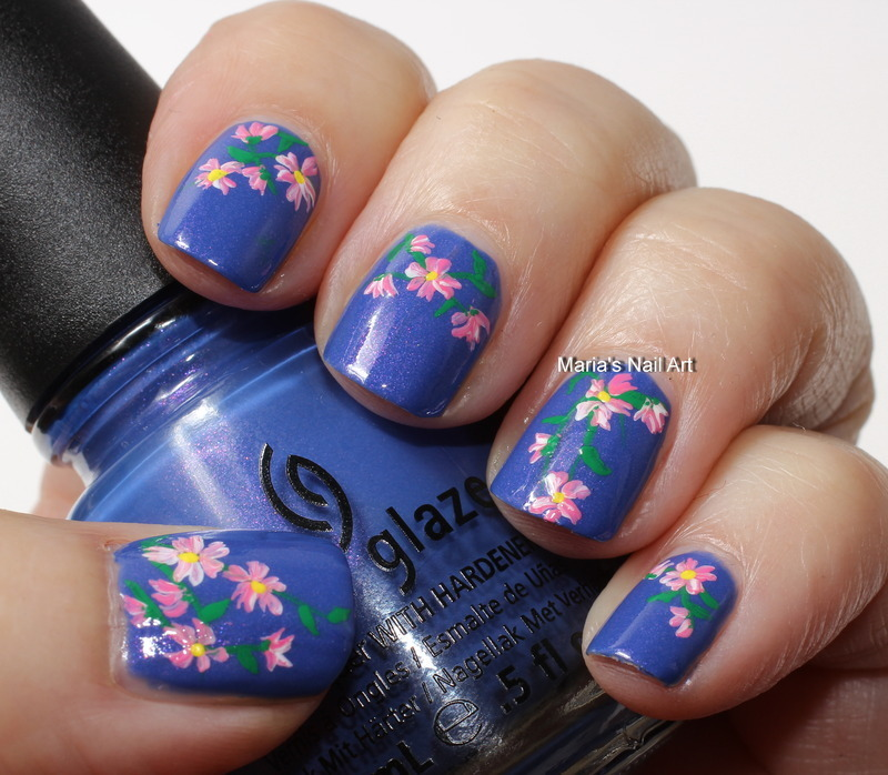 """Flowers for a fancy pants nail art by Maria """"Maria's Nail Art and Polish Blog"""""""
