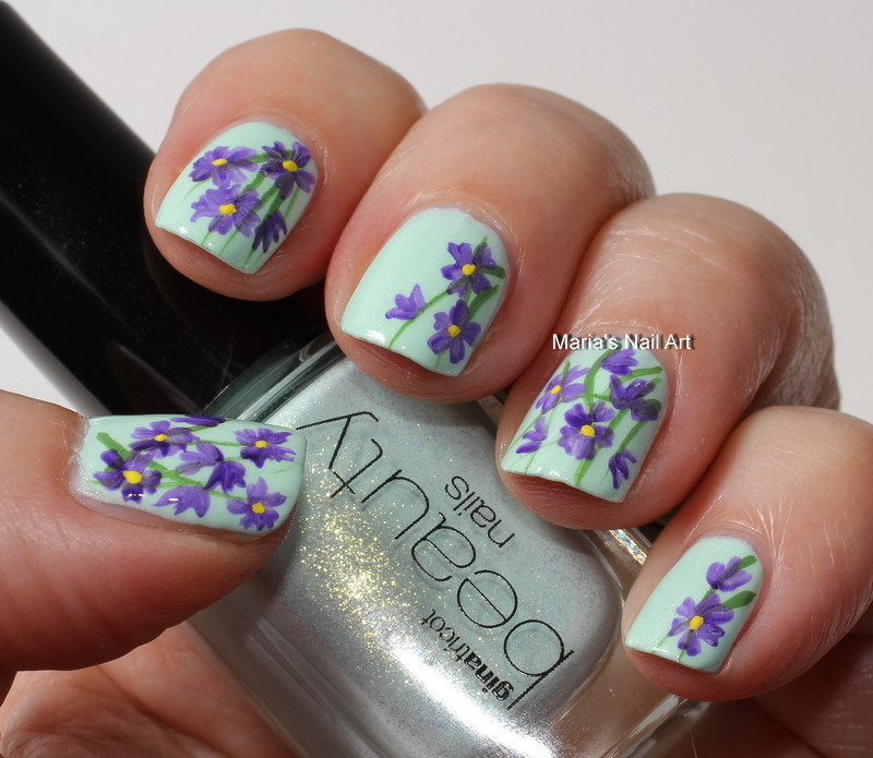 "Purple flowers on mint nail art by Maria ""Maria's Nail Art and Polish Blog"""