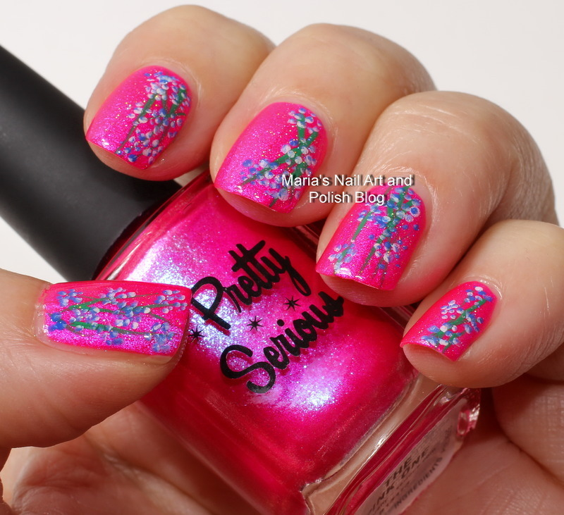 """Flowers for the pink one nail art by Maria """"Maria's Nail Art and Polish Blog"""""""