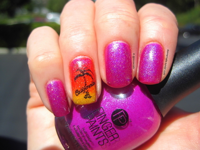 California Dreamin' nail art by Donner