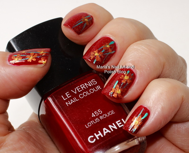 """Copper flowers on a red lotus nail art by Maria """"Maria's Nail Art and Polish Blog"""""""