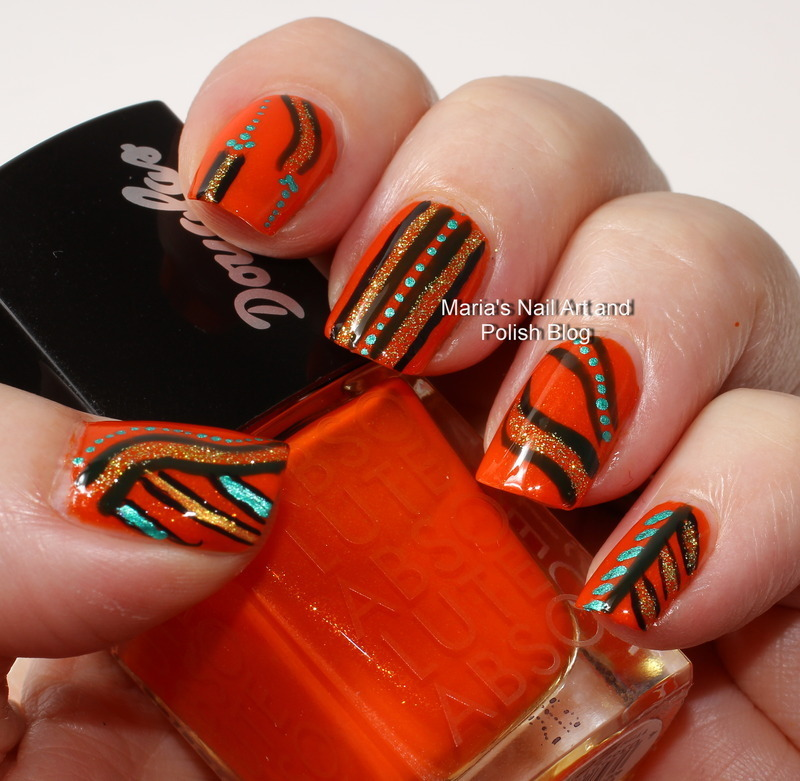 "Abstract on orange nail art by Maria ""Maria's Nail Art and Polish Blog"""