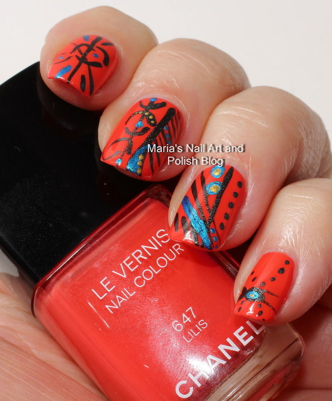 "Lili's abstract doodling nail art by Maria ""Maria's Nail Art and Polish Blog"""