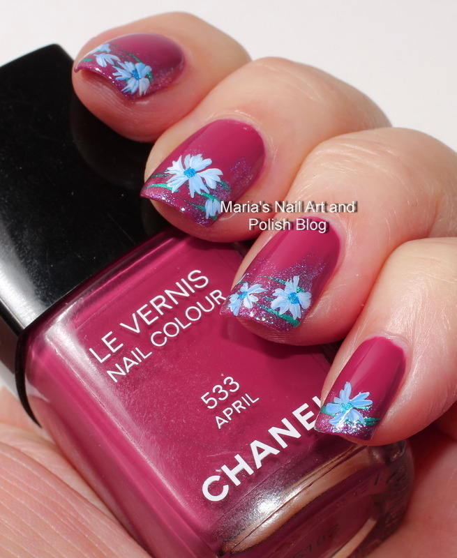 "Pastel blue floral nail art on April nail art by Maria ""Maria's Nail Art and Polish Blog"""