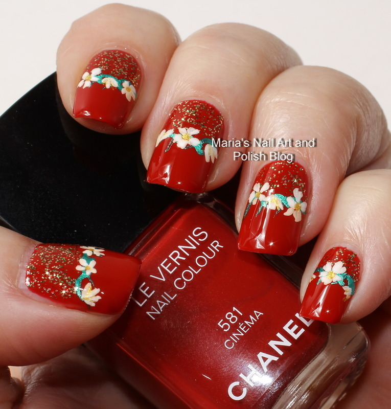 "Floral band and glitter nail art by Maria ""Maria's Nail Art and Polish Blog"""