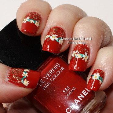 """Floral band and glitter nail art by Maria """"Maria's Nail Art and Polish Blog"""""""