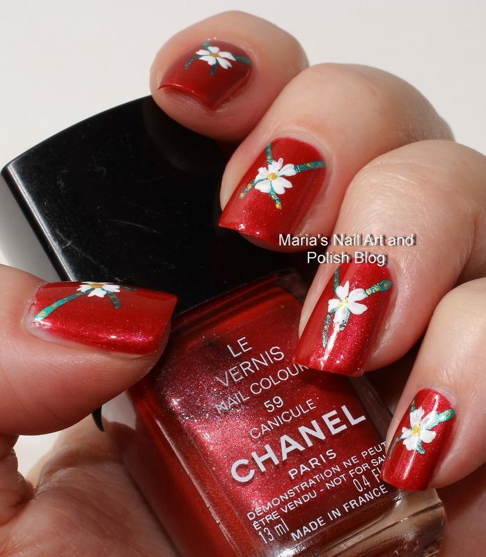 """Canicule floral ribbons nail art by Maria """"Maria's Nail Art and Polish Blog"""""""