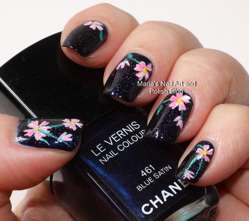 """Blue satin flowers nail art by Maria """"Maria's Nail Art and Polish Blog"""""""