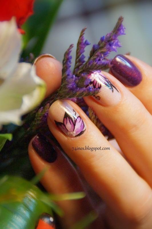 Purple Flowers nail art by 74ines