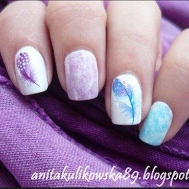 Nail stickers and saran wrap nail art by Anita