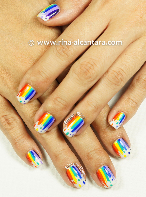 Dripping Rainbow nail art by Rina Alcantara