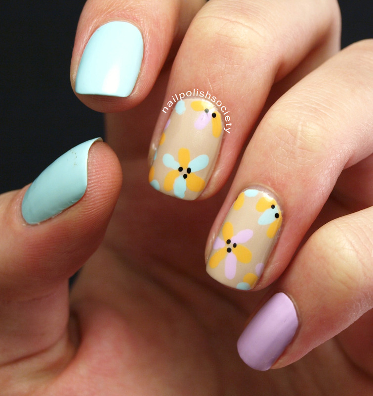 Spring Is Sprung nail art by Emiline Harris